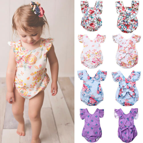 Newborn Baby Girl 1st Birthday Clothes Ruffle Romper Jumpsuit Sunsuit Outfit US