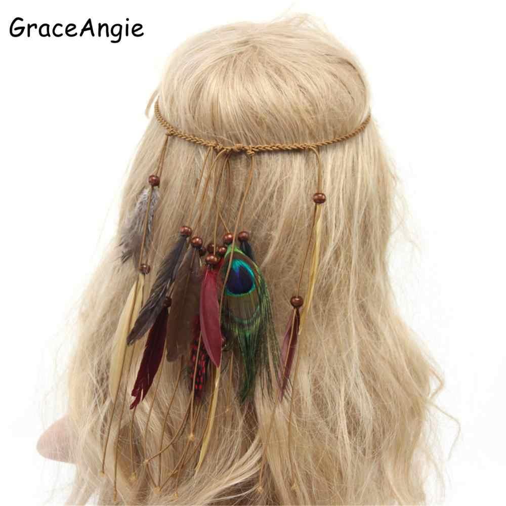 GraceAngie Women Bohemian Vintage Peacock Feather Headband Colorful Headdress Bride Fashion Indian Korean velvet Hair Accessorie