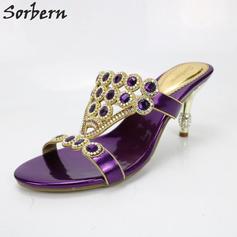 купить Sorbern Women Crystal Sandals Shoes 7.5CM Heels Hot Sale Sandalia Feminina Beading Party Ladies Shoes Cheap Modest Sandalias по цене 4890.38 рублей