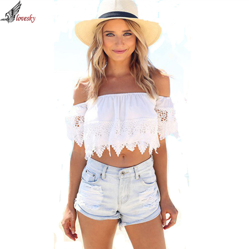 Blouse sexy off the shoulder boho lace white blouse off shoulder