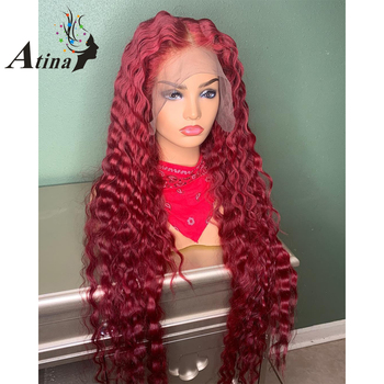 13X6 Deep Part 99J Red Wavy Lace Front Human Hair Wig With Baby Hair Burgundy 150% Density Preplucked Brazilian Remy color wig