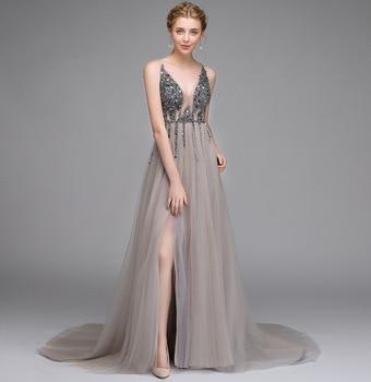 Deep V-Neck Sexy Women Dress For Wedding Party Sequins Elegant Long Bridesmaid Dresses High Split Prom Gowns Vestido De Festa