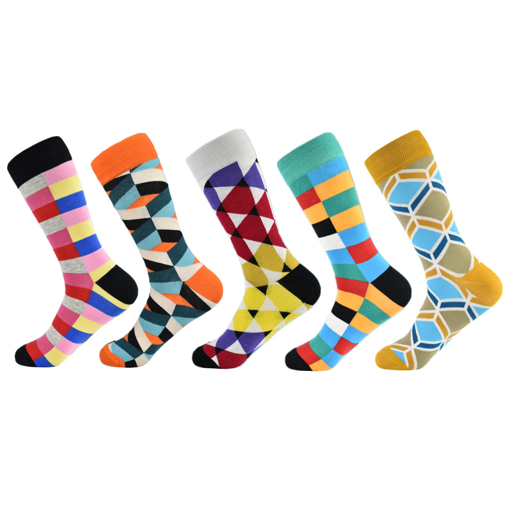 Socks Men Casual  Socks Real Time-limited 2019 Men's Gift Box Colorful Fashion Plaid Business Combed Cotton Socks