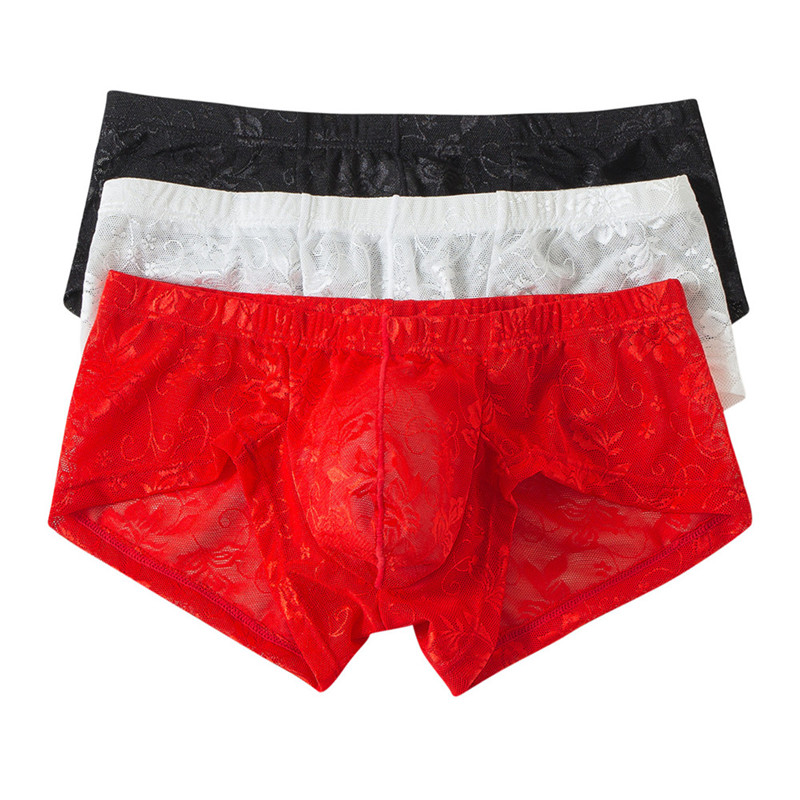3pcs Lot Sexy Mens Underwear Boxers Lace