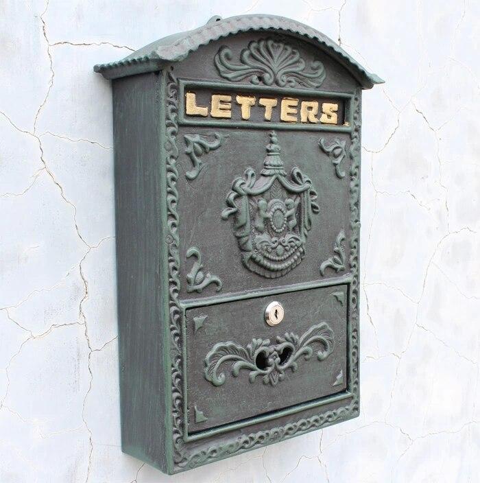 Embossed Trim Decor Bronze cast iron mailbox Wall mounted Mail Box High quality Garden Decorative mailbox European mailbox