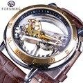 Forsining двухсторонние прозрачные коричневые кожаные водонепроницаемые автоматические мужские часы лучший бренд класса люкс Скелет креативн...