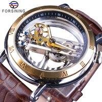 Forsining 両面透明茶色の革防水自動メンズ腕時計トップブランドの高級スケルトンクリエイティブ腕時計
