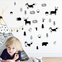 Nordic Style Tribal Animals Woodland Forest Sticker For Nursery Kids Room Decor Wall Decals Mural Stickers Decoration LW39