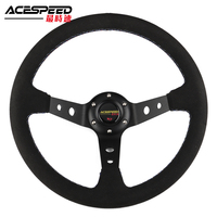 350mm 13.5Inch New Universal Steering Wheel Suede Leather steering wheel drift Tricolor stitching With Horn Button