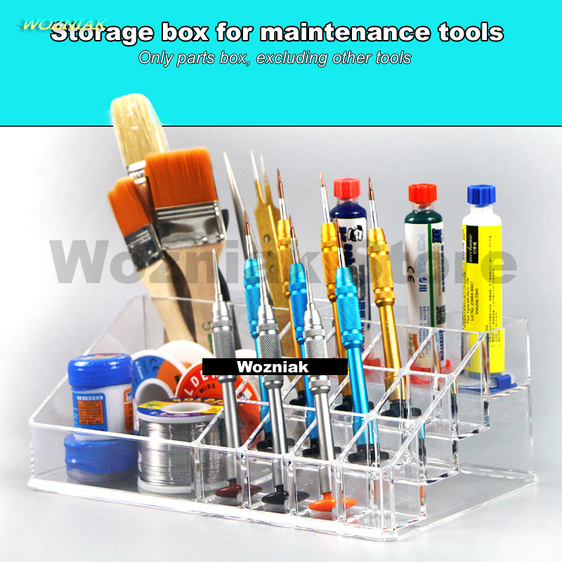 Wozniak Mobile Repair Parts Box Brush Screwdriver Holder Desktop Storage Rack BGA Repair Kit Parts Rack