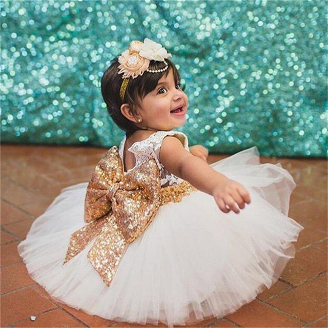 Mùa Hè mới Phong Cách Bé Gái Làm Lễ Rửa Tội Gown Ren Sequined Dresses Thời Trang Sơ Sinh Dây Sinh Nhật Quần Áo 1 2 Năm Bebe Quần Áo