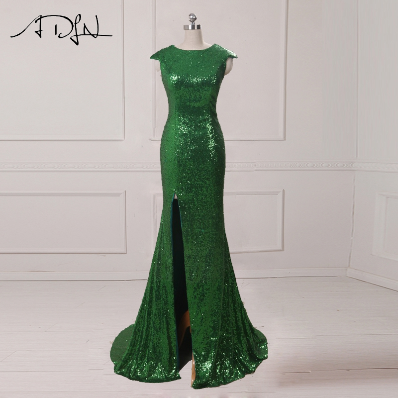 ADLN Mermaid Evening Dress with Slit Scoop Sequin Long Prom Dress Cheap Party Gown Rose Gold