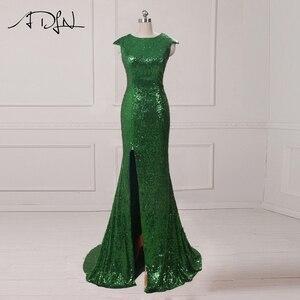 Image 2 - Czyszczenie magazynu wyprzedaż ADLN Mermaid suknia wieczorowa z rozcięciem cekinowa tanie suknia wieczorowa z długimi rękawami różowe złoto/zielony/bordowy/czarny/czerwony/niebieski
