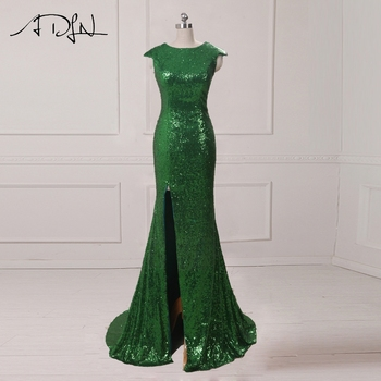 8f964ac15c783 ADLN Mermaid Evening Dress with Slit Scoop Sequin Long Prom