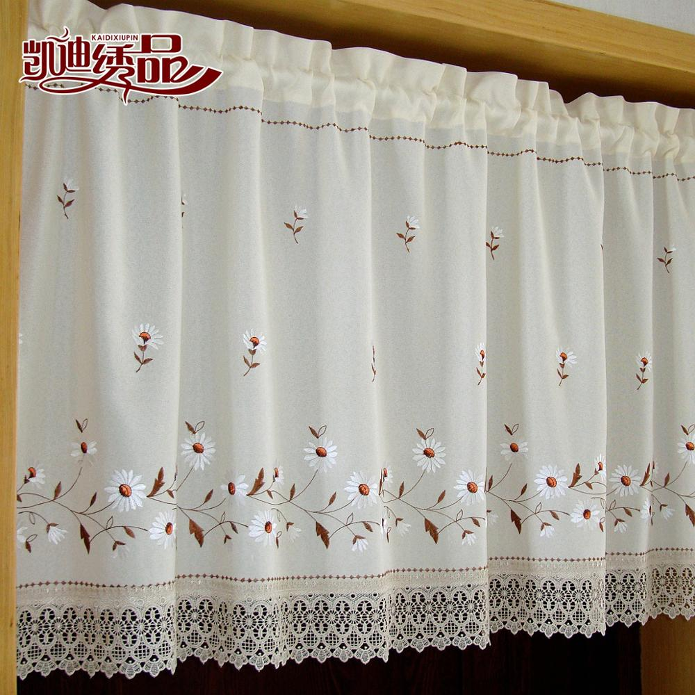 Coffee kitchen curtains - Nice Curtains Rustic Finished Products Embroidery Coffee Kitchen Cabinet Short Door Curtain Cortinas For Window