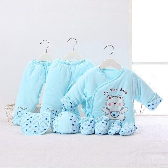 Осень Зима Новорожденный Одежда Набор 7 ШТ. Хлопок Мальчик Зимней Одежды Девушка Одежда Детские Наборы для новорожденных одежда для новорожденных подарок