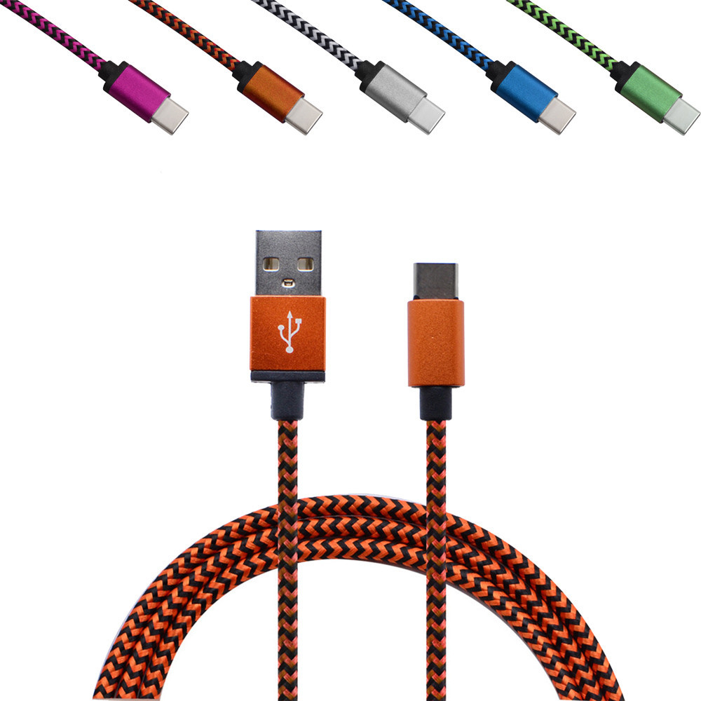 1M USB-C Type-C Data & Sync Cable Braided Cord Fast Charge Charging Cable Line prolunga usb usb extension cable drop shopping