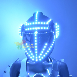 Led helmet colorful color bright light headset helmet with battery LED Glowing Party DJ headphones Robot business accessories