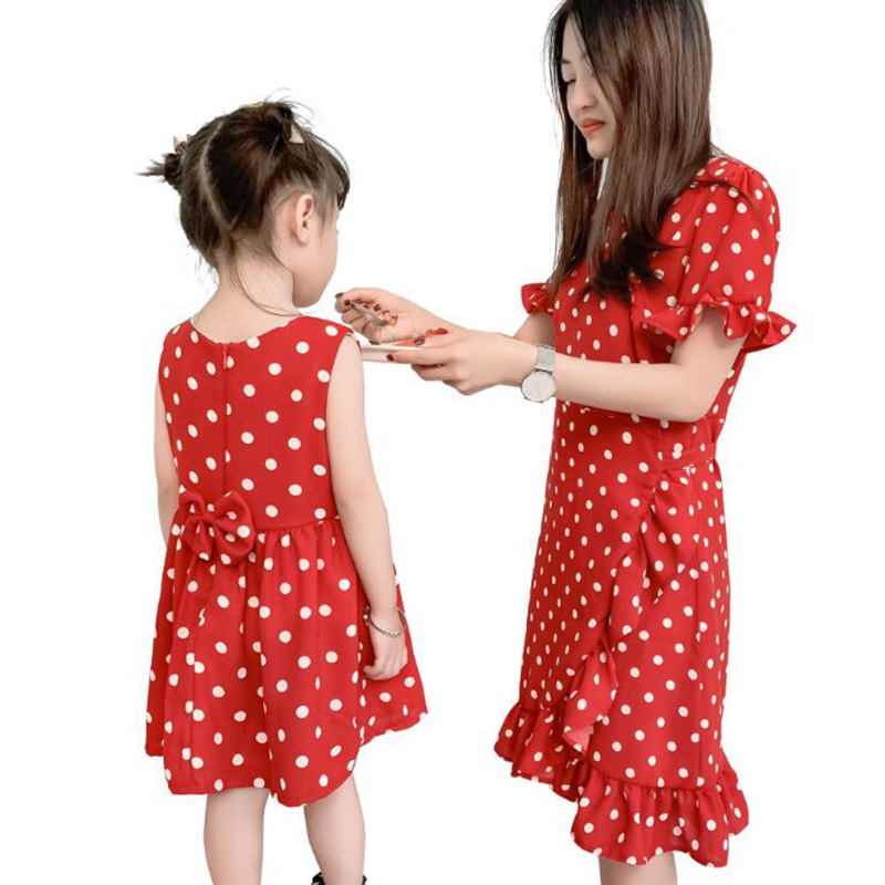 2 pièces nouveau rouge à pois été mère fille ceintures robes famille correspondant vêtements Boho robe cadeaux pour filles maman robes