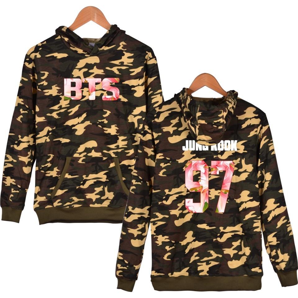 Bangtan Boys Kpop BTS Camouflage Hoodie Sweatshirt bts for Men Women Hoodies Sweatshirt kpop clothes bts clothing women Hoodies