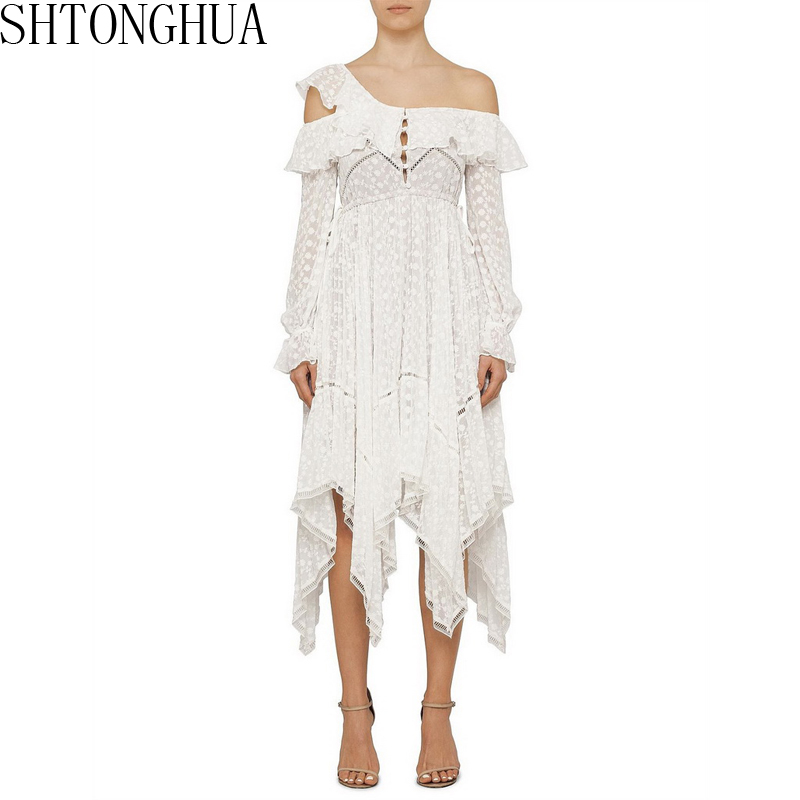 SHTONGHUA 2019 Self Portrait Runway Asymmetrical Dress High Quality Women Summer Sexy White One Shoulder long Party Dresses