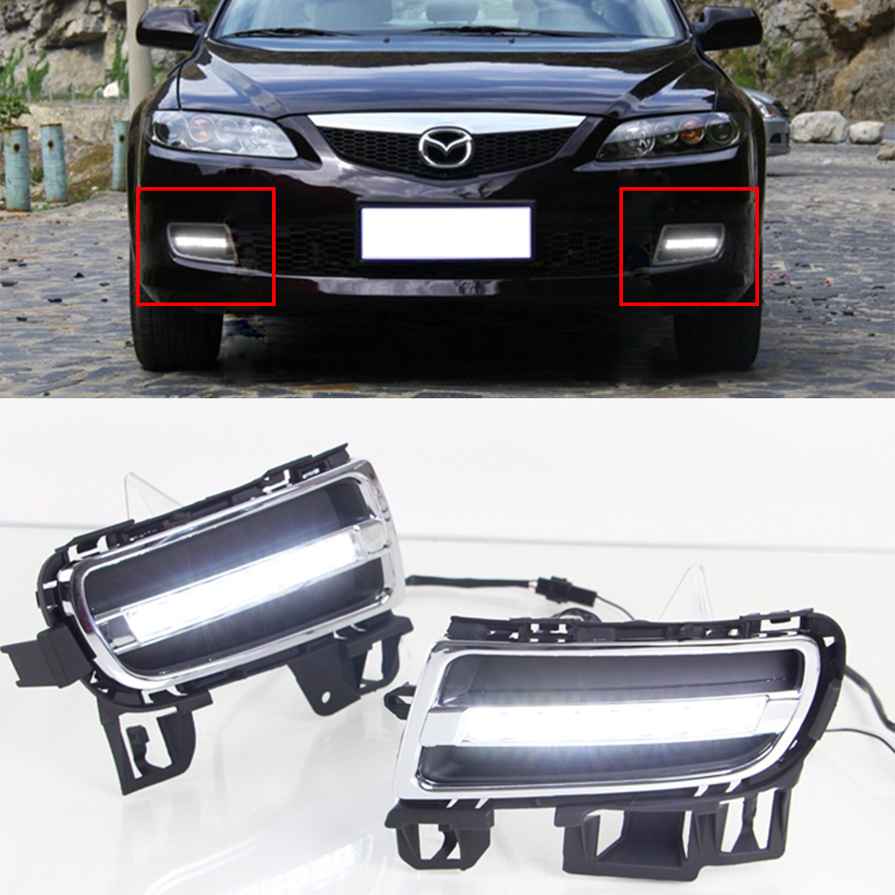 New Car DRL KIT For Mazda 6 2006-2009 LED Daytime Running Light bar fog auto lamp super bright daylight car led drl Relay LIGHT car drl kit for audi a4 l b8 2009 2012 led daytime running light bar super bright auto fog lamp daylight for car led drl light