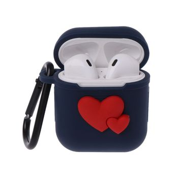 Protective Cover Earphone Case Silicone Skin Shockproof Dustproof Cute Love Heart Pattern for Apple AirPods Bluetooth Wireless H