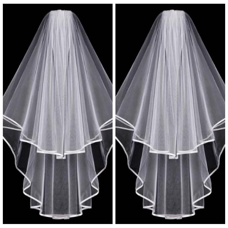 Einfache Kurze Weiß Elfenbein Braut Schleier 2019 Zwei Schichten Mit Kamm Braut Hochzeit Zubehör Haar Zubehör