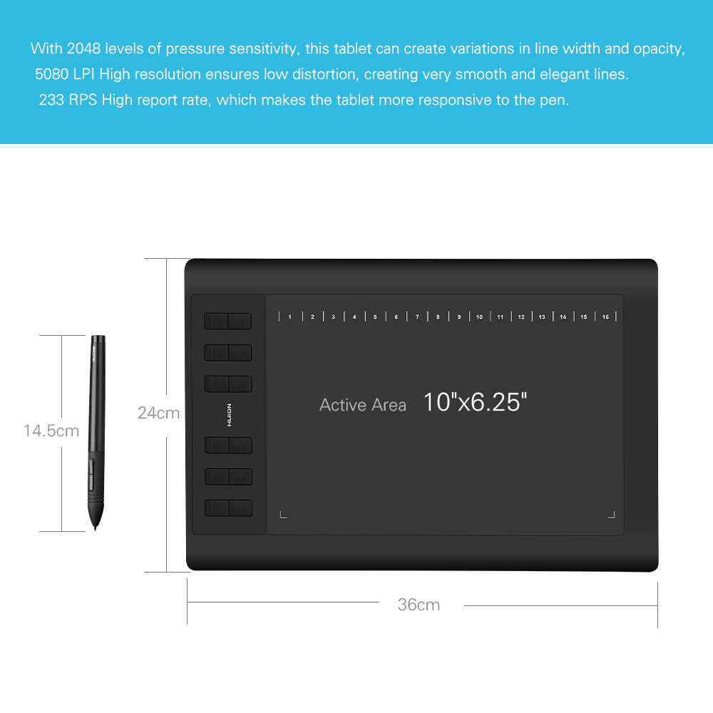 2 Pens Huion 1060 Plus Profession Drawing Tablet 8192 Level Pen Pressure  Tablet+Screen protector +15