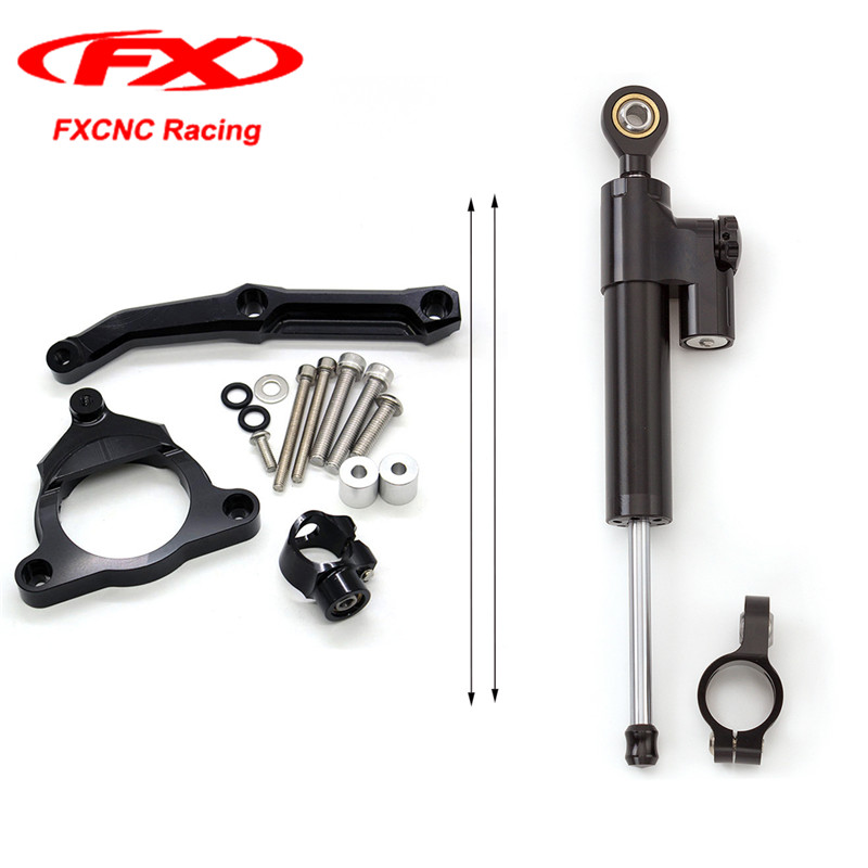 For Kawasaki Z800 2013-2015 2014 FXCNC 1 Set Black Motorcycle Damper Steering Stabilizer with Brackets Mounted Kits Motorcycles