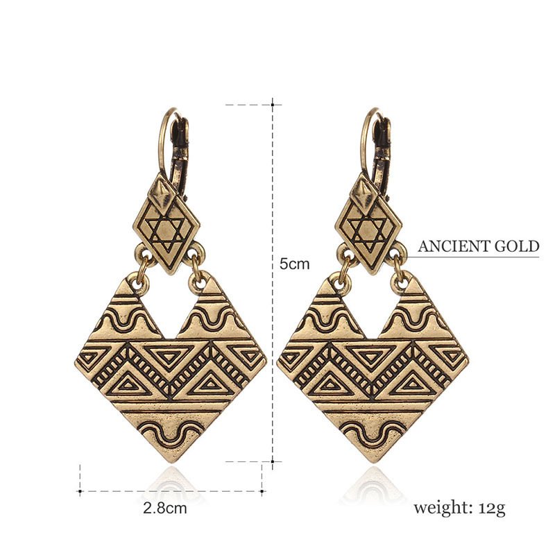 Classic Ancient Gold Color African Earrings Retro Metcl Alloy Jewelry Women Drop Dangle Earrings Ethnic Jewellery Brinco