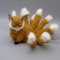 yellow simulation sitting fox model toy resin&fur creative nine tails fox model toy gift about 12x9x14cm gift a340