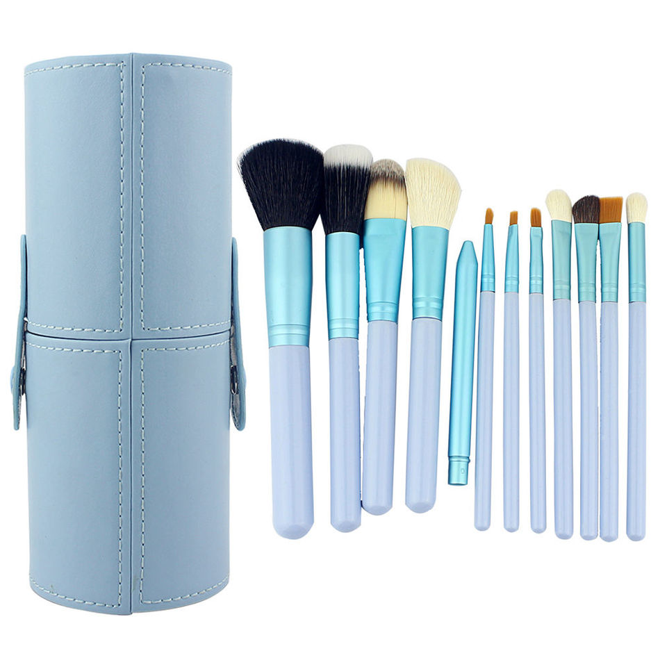 Professional Face Makeup Brushes 12PCS Make Up Brush Set Contour Eyebrow Foundation Powder Kabuki Brushes with Holder Maquillage