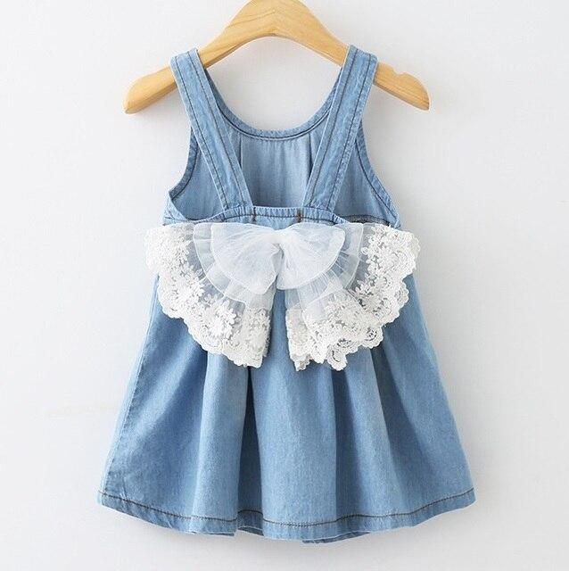 Девушка жилет платье джинсовые большой с бантом кружева платья жан платье с погонами для девочек дети 2-8 Yrs детей рукавов