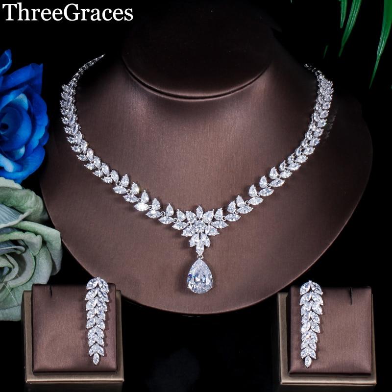 ThreeGraces Classic Long Cluster Marquise Stone Velká kapka vody Ženy CZ náhrdelník a náušnice Svatební sady šperků JS026