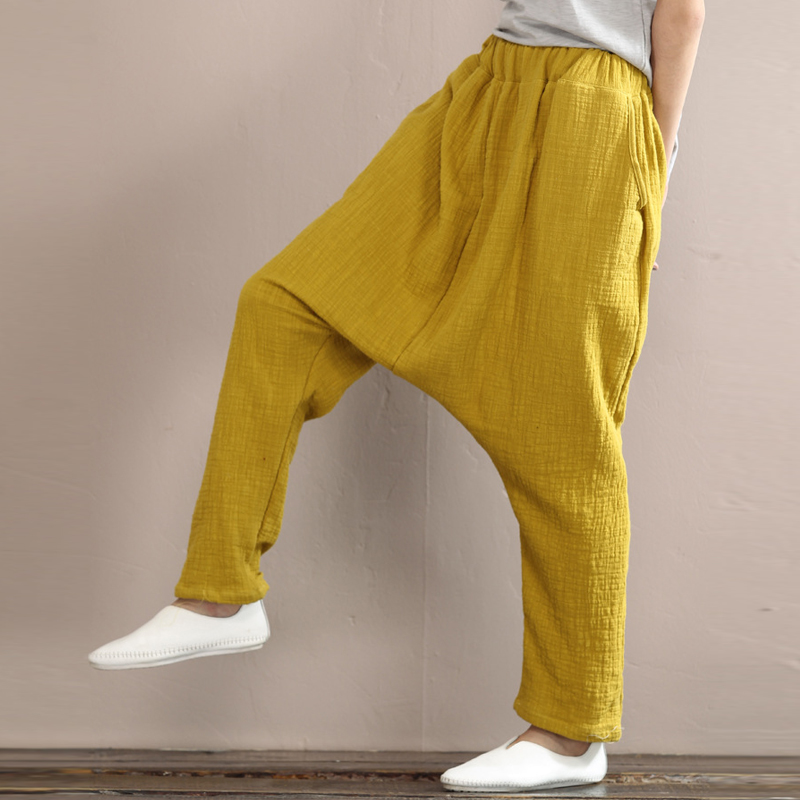 Women Harem Pants Autumn Women Trouser Solid Loose Casual Vintage Cotton Linen Plus Size Comfortabe Female Pants