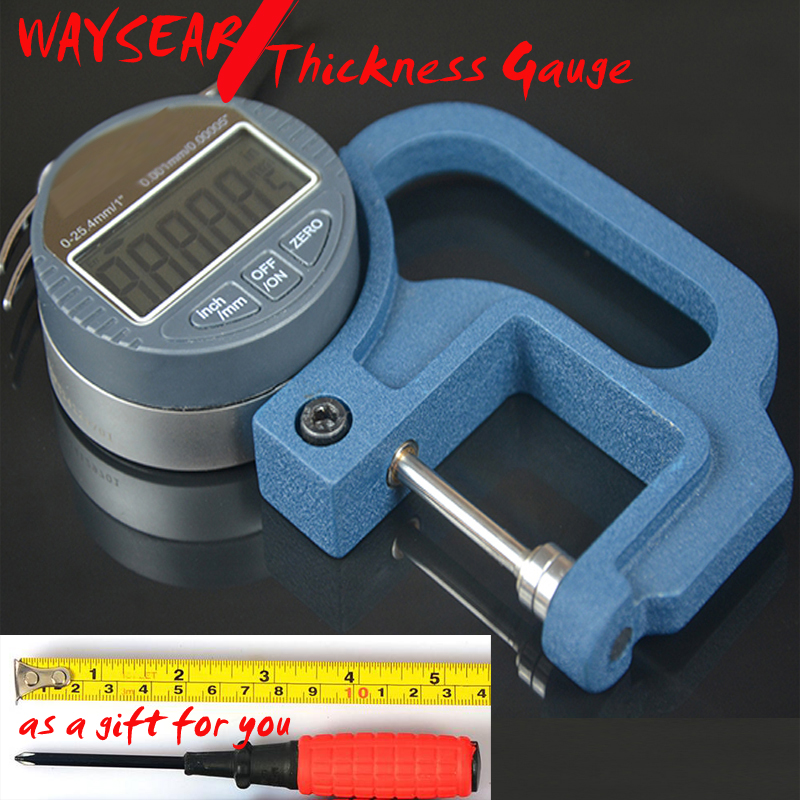 Digital Thickness Gauge Paper / leather / rubber / fabric / sheet metal / glass Thickness Gauge range 0-25.4mm Accuracy: 0.001mm