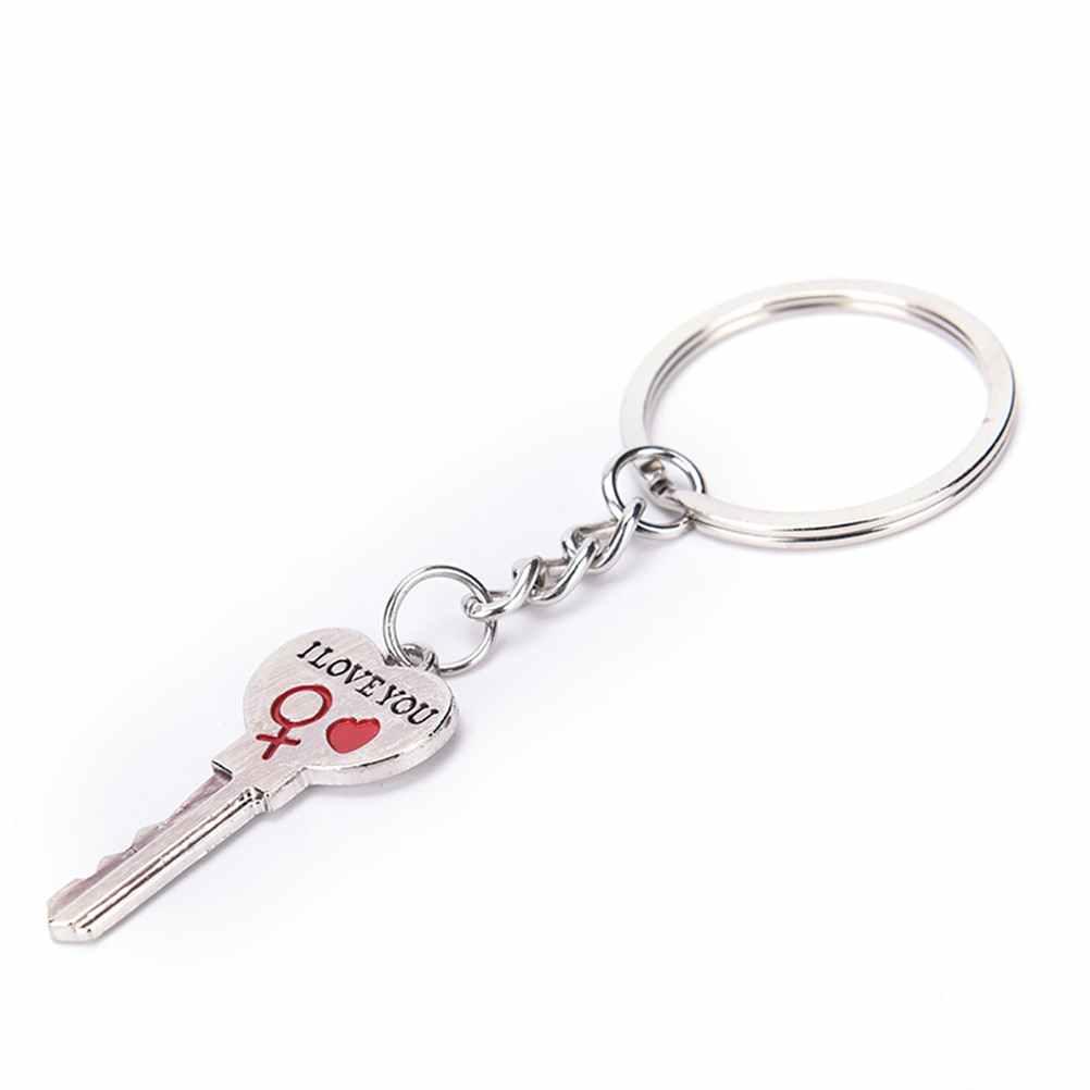 Llavero con letras I LOVE YOU llavero de corazón Color plateado amor llavero regalo de San Valentín diseño de moda
