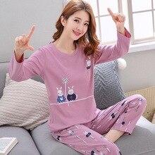 Женские пижамные комплекты весенне-летняя Милая одежда для сна с длинным рукавом и тонким принтом пижамы из 2 предметов для больших девочек, Mujer, пижама для отдыха и студентов