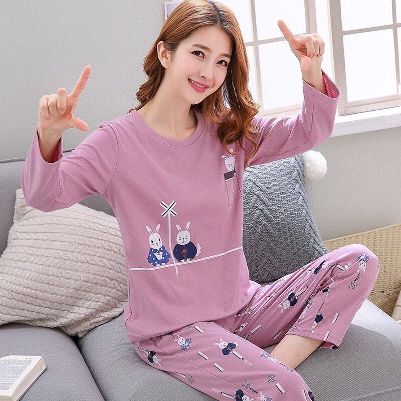 2019 Women Pajamas Sets Spring Summer Long Sleeve Thin Print Cute Sleepwear Big Girl 2pcs Pijamas Mujer Leisure Student Pajama