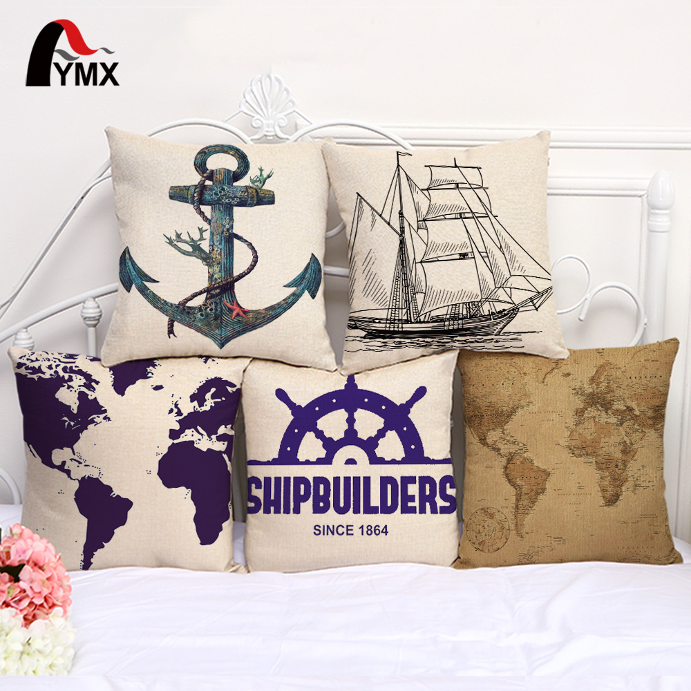 18 Mediterranean Series Sailing Boat Sailboat Map Sailor Cotton and Linen Printed Cushions Cover Pillowcups Linen Wholesale
