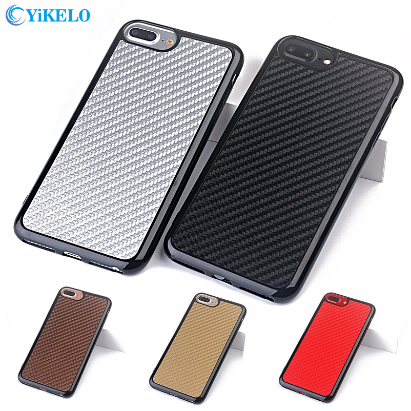 YiKELO Luxury Carbon Fiber Ultra Thin Silicone Soft TPU on Case for iPhone 7 8 Plus <font><b>7Plus</b></font> classic <font><b>Phone</b></font> Back <font><b>cover</b></font> Coque Capinha