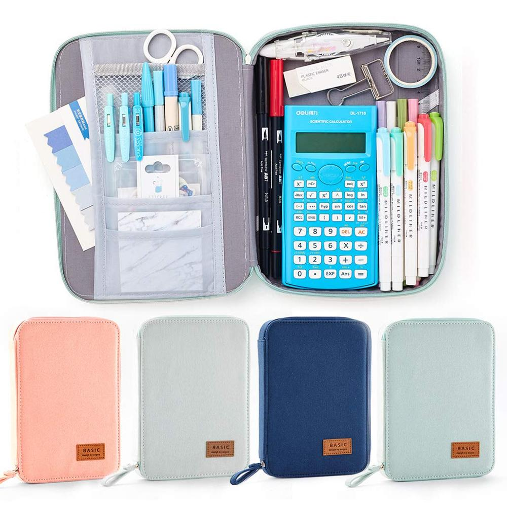 Big Capacity Pencil Pen Case Pouch Box Organizer Large Storage For Bullet Journal Light Blue