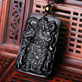 JoursNeige Natural Stone Obsidian Pendant Black A Carved Guangong Jade Lucky Amulet Bead Necklace Fashion Pendants Jewelry