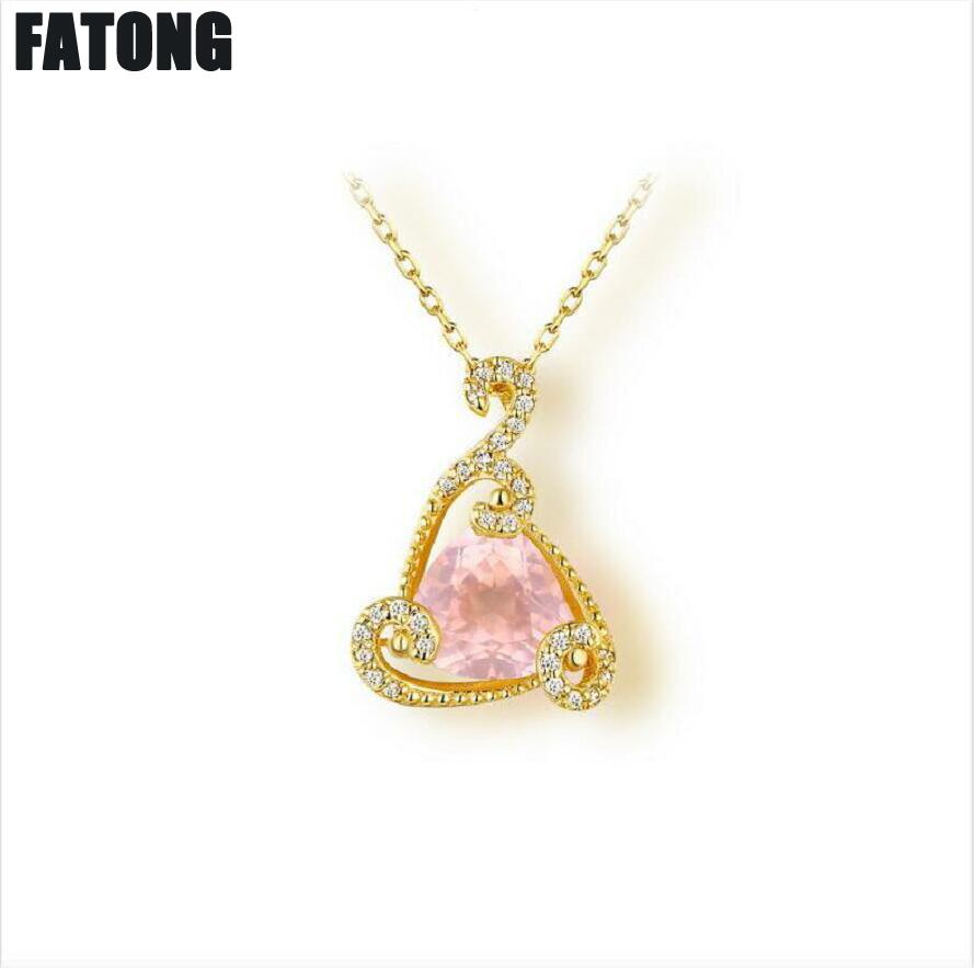 New Jewelry 925 sterling silver triangle Rose quartz necklace female J0247New Jewelry 925 sterling silver triangle Rose quartz necklace female J0247