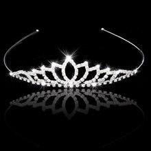 Свадебные Аксессуары Женщины Партии Pageant Кристалл Люкс Тиара Посеребренная Корона Hairband
