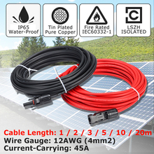 KINCO 1 Pair Solar Panel Extension Cable Copper Wire Black and Red with MC4 Connector Solar PV Cable 4mm 12 AWG