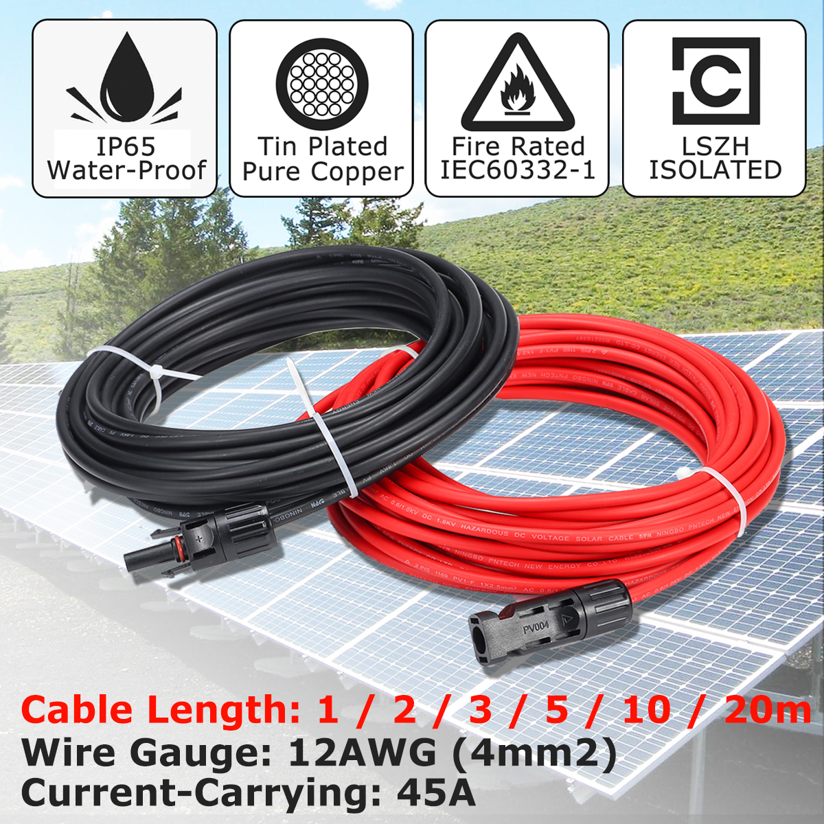 30 m Solar Extension Cable 4mm Twin Core DC male female  join to regulator
