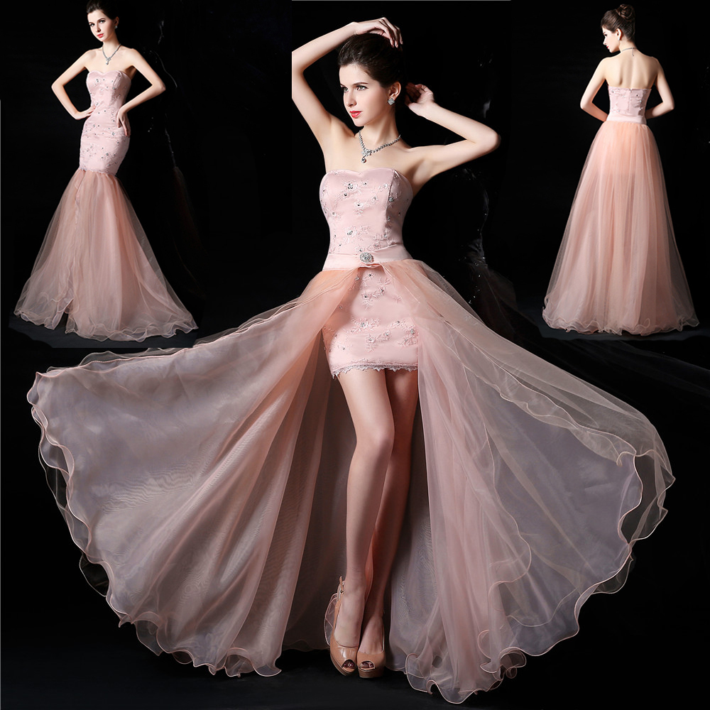 f9750b580aed1 Sweetheart Sleeveless high low elegant white pink lace Party Gown ...