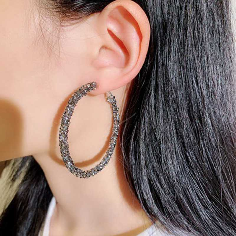 High Quality Large Hoop Earrings Shining Black/Silver Crystal Statement Earrings Fashion Women Jewelry